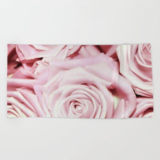 Beautiful bed of pink roses- Floral Rose Flowers Beach Towel