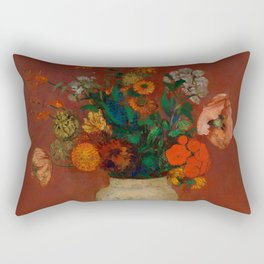 """Odilon Redon """"Bouquet in a Chinese Vase"""" Rectangular Pillow"""