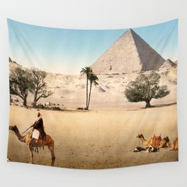 Vintage Pyramid : Grand Pyramid Gizeh Egypt 1895 Wall Tapestry