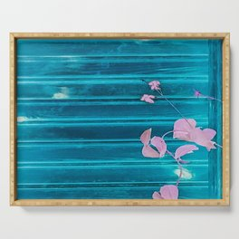 blue wooden wall pink jasmine minimal Serving Tray