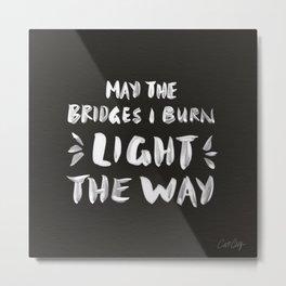 Burned Bridges – Black & White Metal Print