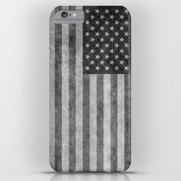 American flag - retro style in grayscale iPhone Case