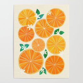 Orange Slices With Blossoms Poster