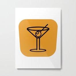 Orange Martini Metal Print