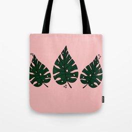 Peach Monstera Tote Bag