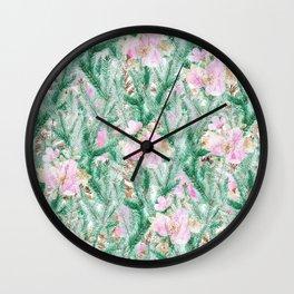 Blush pink  green pine tree modern floral Wall Clock
