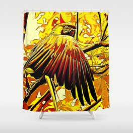 blue yellow breasted macaw parrot bird vector art ember Shower Curtain