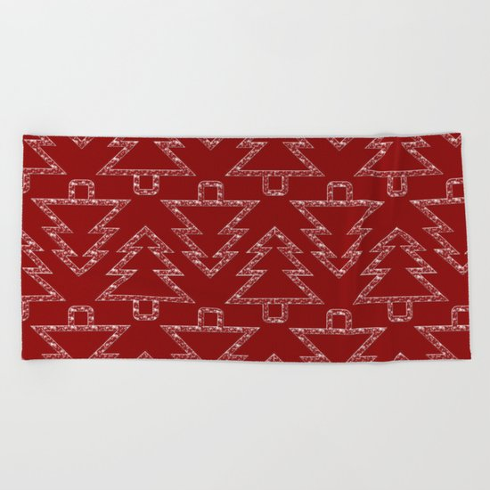 Merry Christmas- Abstract christmas tree pattern on festive red Beach Towel