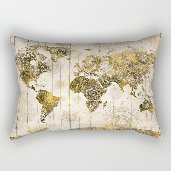 world map mandala sepia 1 Rectangular Pillow