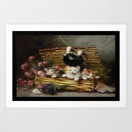 cute kitten 2- Leon Huber - A basket full of cat - pet,whikers,cat,kitty,kitten Art Print