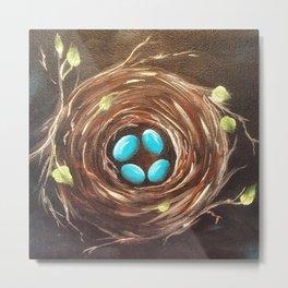 Four Turquoise Eggs Metal Print