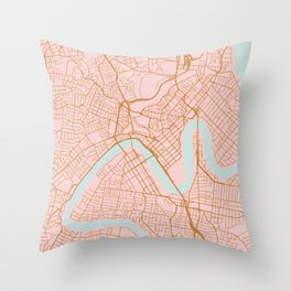 Pink and gold Brisbane map Throw Pillow
