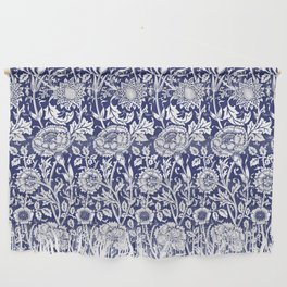 """William Morris Floral Pattern   """"Pink and Rose"""" in Navy Blue and White Wall Hanging"""