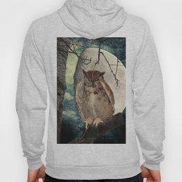 Great Horned Owl Bird Moon Tree A138 Hoody