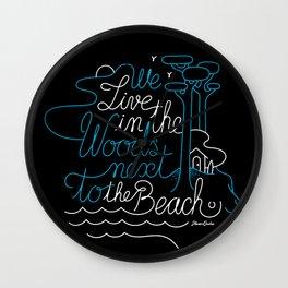 WOODY BEACH Black/Blue Wall Clock