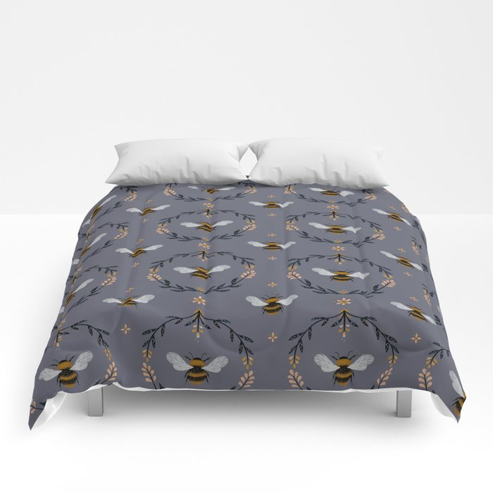 Ode to the Bumblebee (in lavender) Comforters