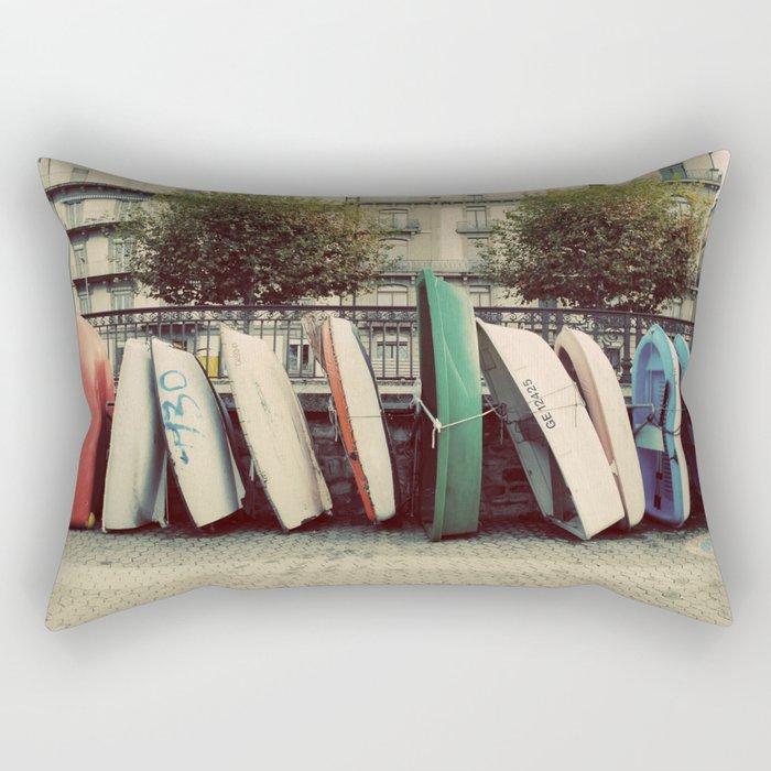 Boats at Geneva Rectangular Pillow