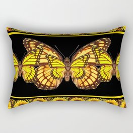 YELLOW MONARCH BUTTERFLIES & SUNFLOWERS BLACK ART Rectangular Pillow