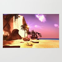 pirate ship Area & Throw Rugs featuring Pirate ship  by nicky2342