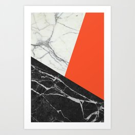 Black and White Marble with Pantone Flame Color Art Print
