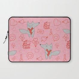 Fox in love pink Hearts Laptop Sleeve