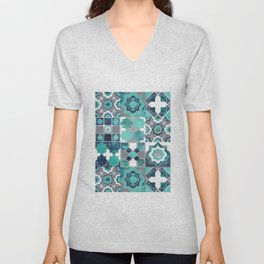 Spanish moroccan tiles inspiration // turquoise green silver lines Unisex V-Neck