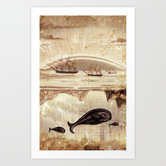 paper II :: whales/ships (red) Art Print