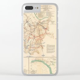 Civil War Batlle Field Maps From 1895 Clear iPhone Case