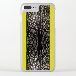 Gothic tree striped pattern mustard yellow Clear iPhone Case
