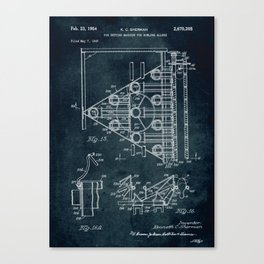 1947 - Pin setting machine for bowling alleys patent art Canvas Print