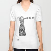lighthouse V-neck T-shirts featuring Lighthouse by Hinterlund