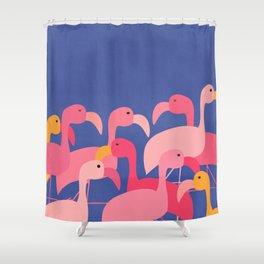 Flamingo Party / Whimsical Bird Illustration Shower Curtain