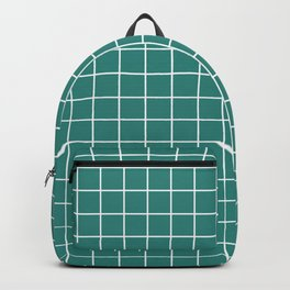Celadon green - green color - White Lines Grid Pattern Backpack