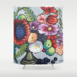 Red Sunflower Party Shower Curtain