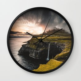 view of gasadalur at faroe Wall Clock