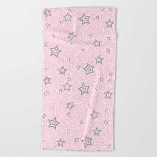 Grey little stars on pink backround Beach Towel