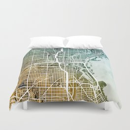 Milwaukee Wisconsin City Map Duvet Cover