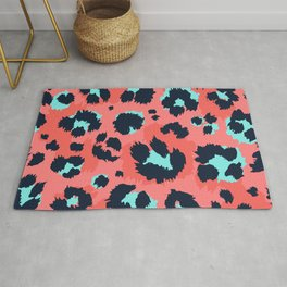 Modern leopard skin hand drawn illustration pattern, fashion animal print interior decor Rug