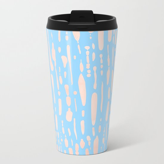 Sweet Life Ice Melt Stripes Peach Coral Pink + Blue Raspberry Metal Travel Mug