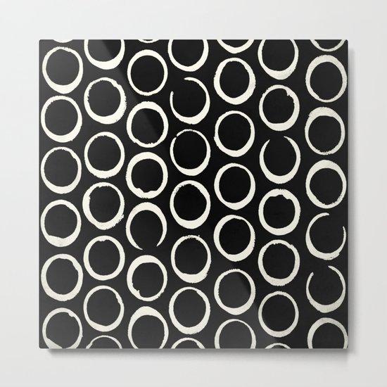 Polka Dots Circles Tribal Cream on Black Metal Print