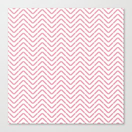 Pastel coral pink white abstract geometrical chevron Canvas Print