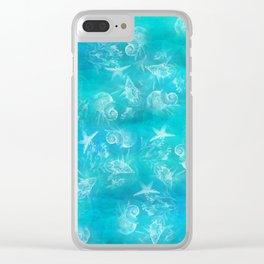 Ocean print Shells Summer Sea snails Stars Nature print Animal print Clear iPhone Case