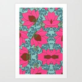 Pink Floral Pattern Art Print