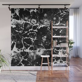 Black And White Wet Paint Textured Pattern - Magic Night Sky Wall Mural