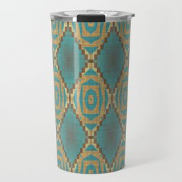 Teal Turquoise Khaki Brown Rustic Mosaic Pattern Travel Mug