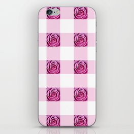 Pink Rose Check Pattern iPhone Skin