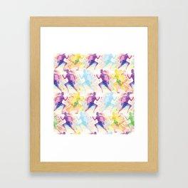 Watercolor women runner pattern Framed Art Print