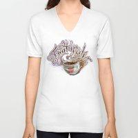 treat yo self V-neck T-shirts featuring Treat Yo Self by Bokkei