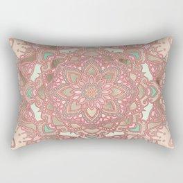 Rose gold cyan mandala Rectangular Pillow
