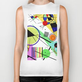 Retro Crazy - Abstract, random, crazy, geometric, colourful artwork Biker Tank